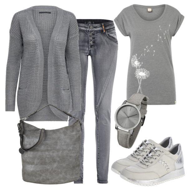 Dieses Freizeit Outfit ist perfekt für den Alltag. Die Outfitkombination besteht aus einem grauen Strickcardigan von Only, einer grauen Jeans, einem grauen T-Shirt mit einem Pusteblume-Print, einer grauen Handtasche und grauen Sneaker von Tamaris.