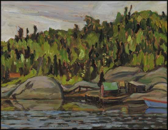 A.Y. Jackson - Fishing Stacks Wawa Ontario 10.5 x 13.5 Oil on board (1956)