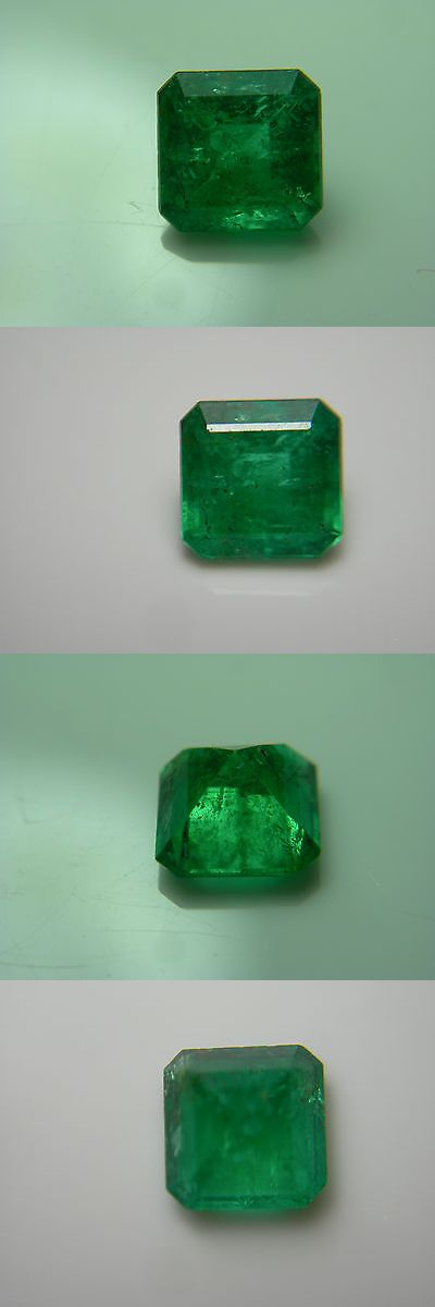 Natural Emeralds 3825: Rare Colombian Emerald Gem Natural Muso Colombia Green Gemstone Muzo Square A BUY IT NOW ONLY: $674.99