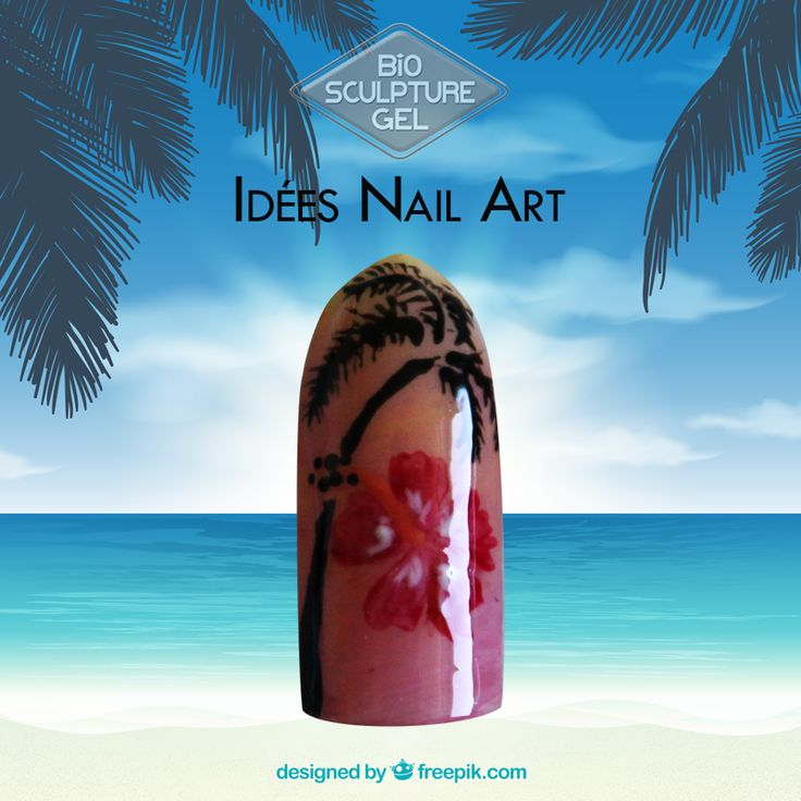 Nail art hibiscus fleur des îles