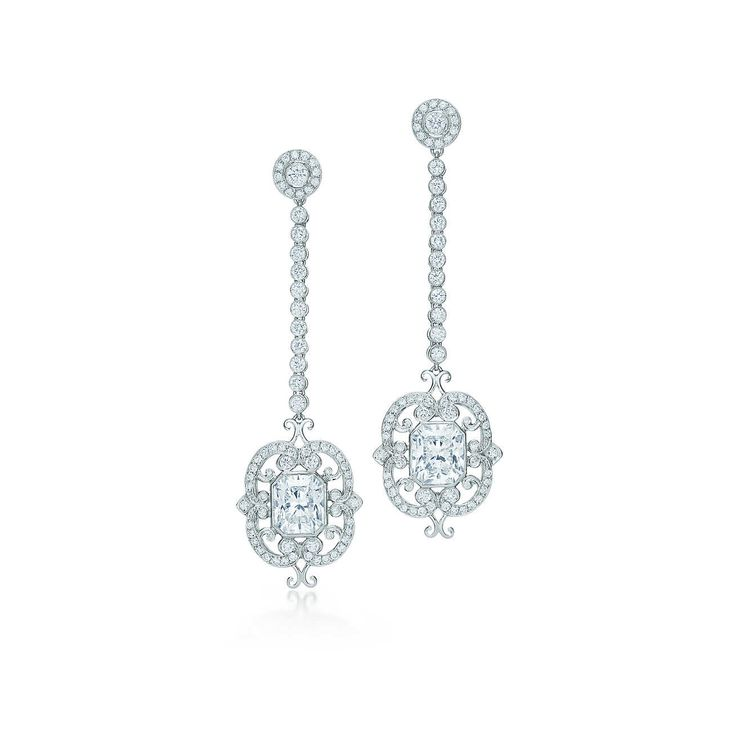 Lucida® diamond drop earrings in platinum.
