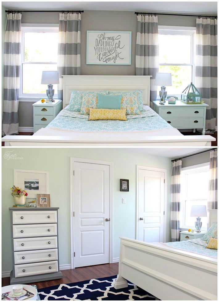 Budget Friendly Master Bedroom makeover featuring a mint  grey and yellow  color palette  PPG. 17 Best images about Voice of Color Paint Colors in Real Homes on