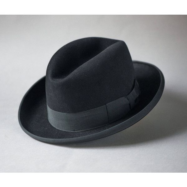 Black men's fedora 1960s. Unisex felt fedora small. Wool fedora retro... ($40) ❤ liked on Polyvore featuring men's fashion, men's accessories, men's hats, mens wide brim hats, mens fedora hats, mens wide brim fedora, mens wool hats and mens felt hat
