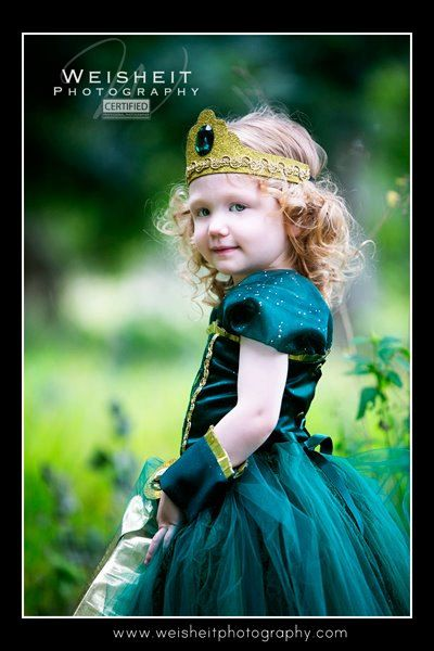 BRAVE LITTLE PRINCESS Merida Inspired Corset Top and Tutu Set with Wrist Cuffs and Tiara.