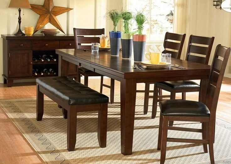 A Stunning Dark Oak Finish Birch Veneer Dining Set With Cushioned Chairs And Bench The Rectangle Table Includes An Extension Which Can Be Very Handy
