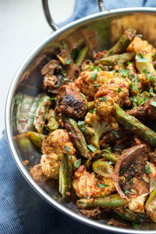 Roasted Vegetable Masala: An easy side of cauliflower, green beans and mushrooms flavored with tomato and Indian spices. | low carb, gluten-free, dairy-free, paleo, whole 30