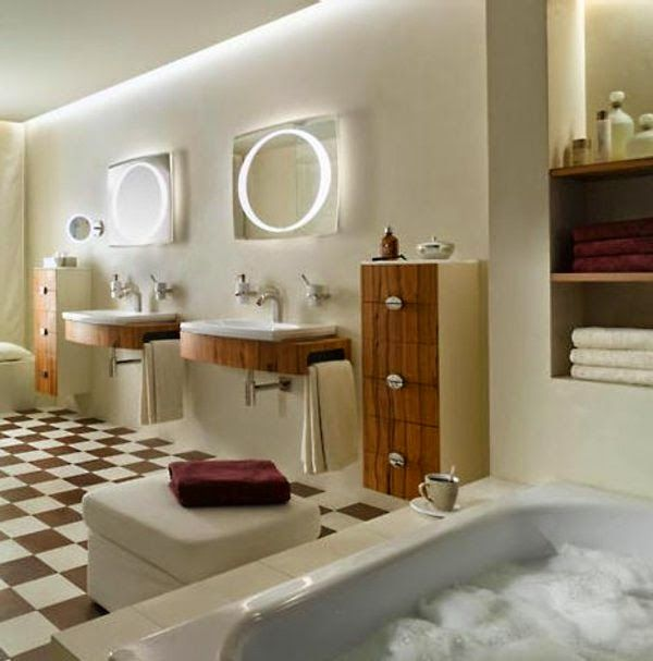 bathroom LED mirror lights: two round mirrors with LED ribbons