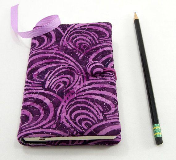 Paarse zak tijdschrift Cover, kleine Moleskine dekken, Pocket Notebook 3.5 x 5.5 inch, Journal zachte - paarse Sint-jakobsschelpen Batik Notebook Cover