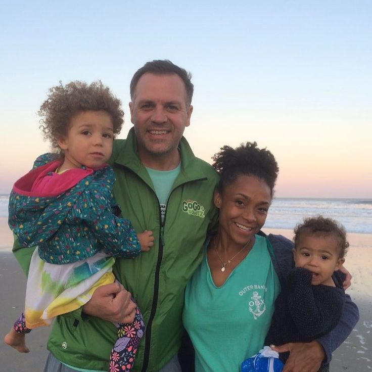 Olympic gold medalist Dominique Dawes with her husband Jeff Thompson and their two adorable daughters. Dawes announced on Instagram that they are pregnant with twins, due in 2018 #love #wmbw #bwwm #swirl #biracial #mixed #lovingday #relationshipgoals #favorite ❤