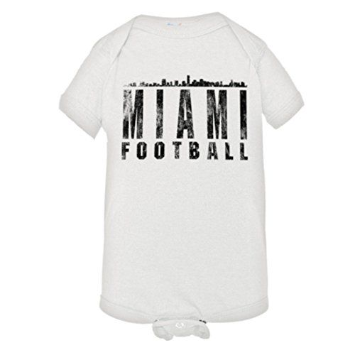 """Baby Creeper Miami Football Distressed Dolphins Skyline HQ 1-Piece Jumper  https://allstarsportsfan.com/product/baby-creeper-miami-football-distressed-dolphins-skyline-hq-1-piece-jumper/  Search """"PleaseMeTees"""" for our complete catalog for women, men, youth, and infants! 4.5 oz 100% Combed Ringspun Cotton Jersey Knit Infant Onsie – Reinforced Three-Snap Closure on Binding"""