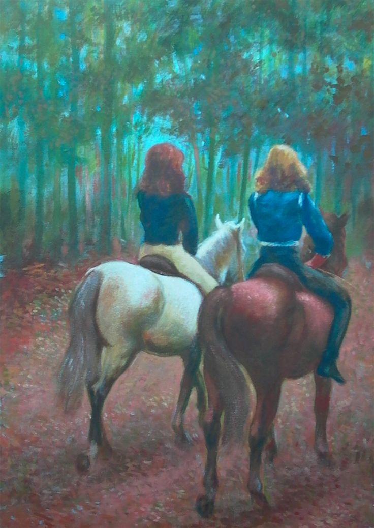 2 meisjes die paardrijden