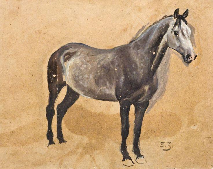 Zygmunt Józefczyk - STUDIUM SIWKA Olej, tektura; 35 x 44 cm