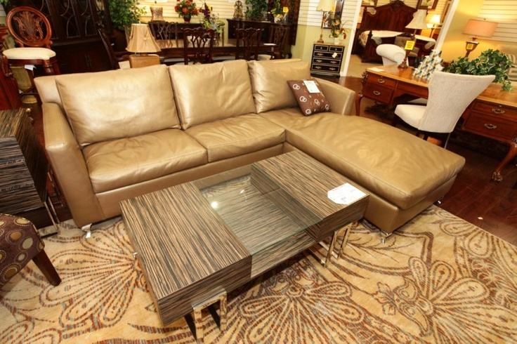 Metallic Camel Leather 2 Piece Sectional Colleen 39 S Classic Consignment Las Vegas Cozy