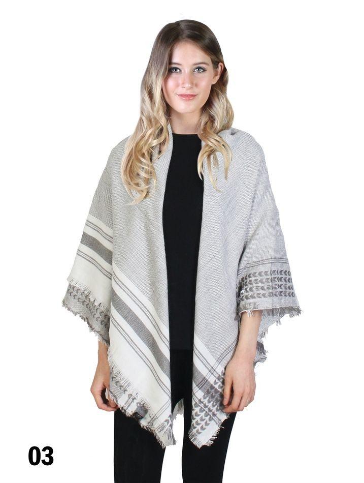 4 Season Stylish Blanket Scarf Shawl with Plaid Trim