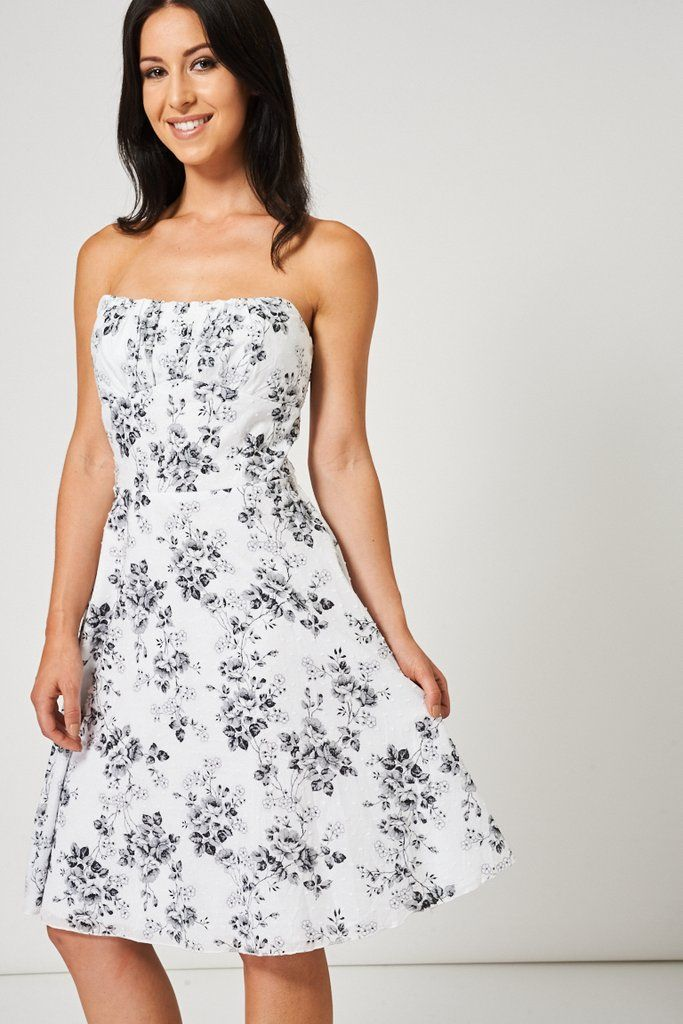 Black Floral Pattern Bandeau Dress