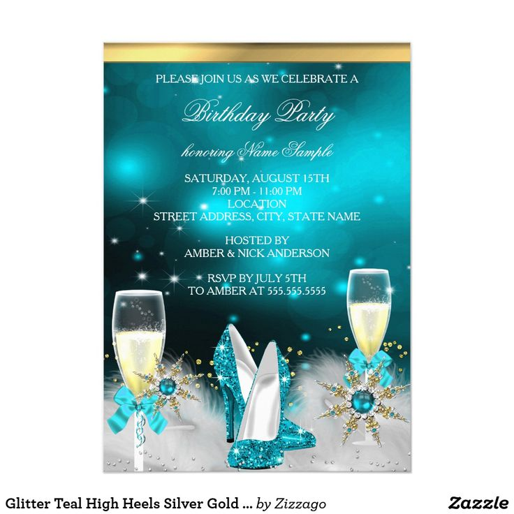 Glitter Teal High Heels Silver Gold Champagne Card Glitter Teal Blue High Heel Shoes, Silver Gold Champagne Festive Birthday or Holiday Party Invitation. Elegant Silver, gold. Customize with your own details and age. Template for Sweet 16, 16th, Quinceanera 15th, 18th, 20th, 21st, 30th, 40th, 50th, 60th, 70th, 80th, 90, 100th, Fabulous product for Adult Women, teen Girls, Zizzago created this design PLEASE NOTE all flat images! They Do NOT have real Glitter, Diamonds Jewels or real Bows!!