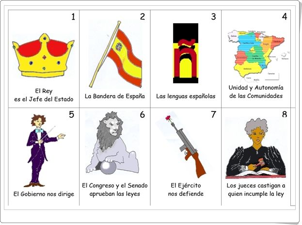 Baraja de la Constitución Española, publicada por la Junta de Andalucía, con los artículos más significativos expresados gráficamente en el anverso y por escrito en el reverso.