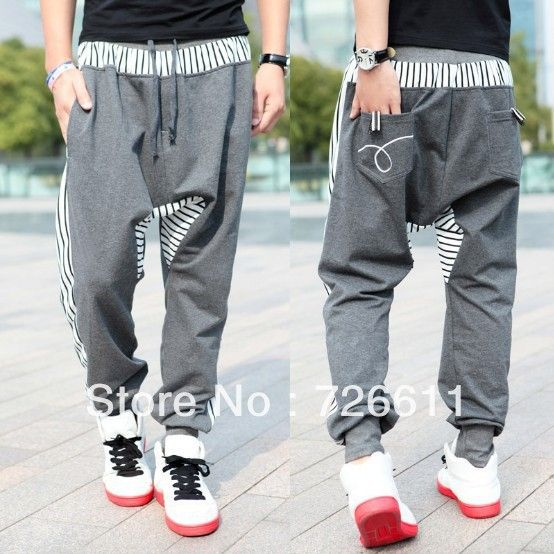 2013 Stylish Men's Casual Jogging Harem Pants,Hip Hop Dance Costume,Men's Punk Pants,Men Urban Clothing,Grey,Black,XXL,H08 $37.99
