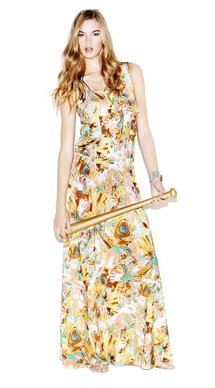 Model wears Naughty Dog flower print maxi dress.