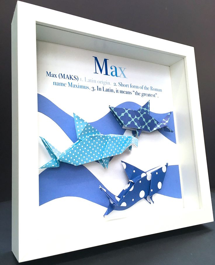 Personalized Name Origin and Meaning Paper Origami Sharks Shadowbox Frame Custom Art Newborn Baby Shower Nursery Wall Art Gift. This personalized name shadowbox features beautiful hand-made origami sharks, including one hammerhead shark, a perfect and unique gift for a newborn baby, birthday, or any special person! They are crafted with origami paper and mounted onto an acid-free cardstock. These are made to order, with the basic design as shown, but they can be customized with any colour...