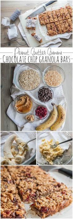 Peanut butter banana chocolate chip granola bars