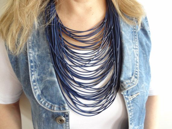 Multi Strand Necklace, Dark Blue Cord Necklace, Statement Jewelry, Dark Blue Leather Look Rope, String Necklace, Bip Jewelry, Mother's Day