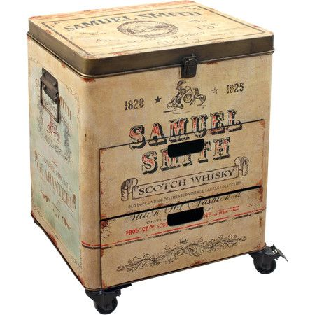 Featuring a vintage brewery-style design, this tin-crafted chest adds a touch of rustic charm to your scheme. Product: Chest...
