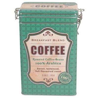 59,00 DKK. Retro kaffedåse - Grøn. Retro kaffedåse med patentlukning, som holder din kaffe frisk  Kaffedåsen er grøn og er med teksten Coffee på siderne.  Den firkantede dåse er 12 x 8 cm og har en højde på 19 cm.