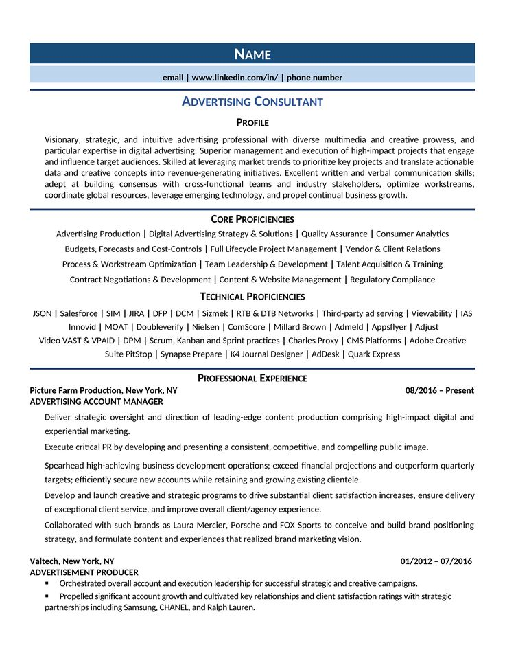 Advertising consultant resume samples how to guide for
