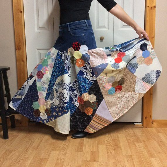 87ce4c058 Upcycled Denim Hippie Patchwork Skirt Womans Plus Size XL, Long Maxi Skirt,  Recycled Jeans, Old Fashioned Country Clothes, Full Quilt Skirt