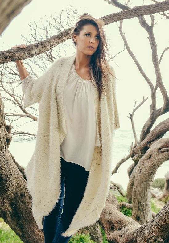 Over Size Cardigan - in Cream speckle knit