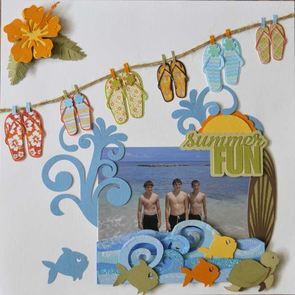 #papercraft #scrapbook #layout.  Cute Summer Fun Page...with flip-flops hangin' on a clothesline & fish.