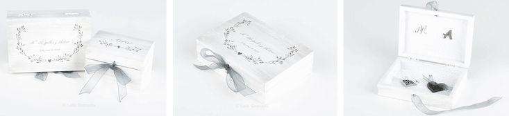 Cajas anillos y arras Mª Ángeles y Aitor. Cajas de madera para boda, para llevar los anillos y las arras a la ceremonia, personalizadas, pintadas a mano. La pareja Mª ángeles y Aitor, son de Madrid…