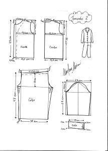 moldes de pijama nos tamanhos 2, 4, 6, 8, 10, 12 e 14.