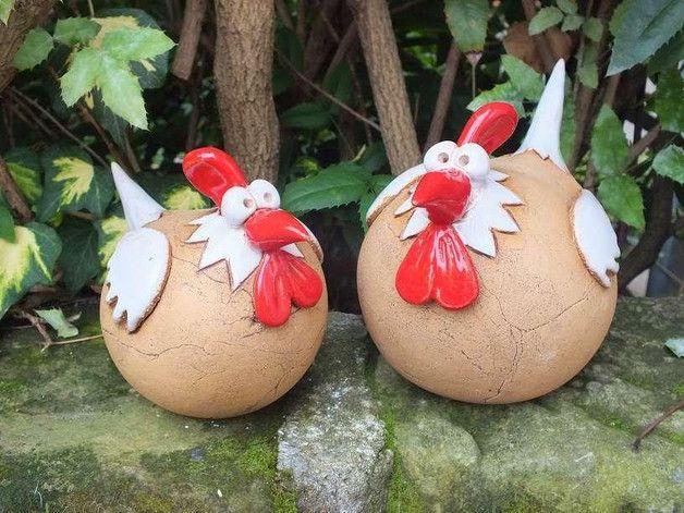 Objets de décoration – SET de sculpture de jardin en céramique Poulet oiseau poule coq – un …   – Töpfern