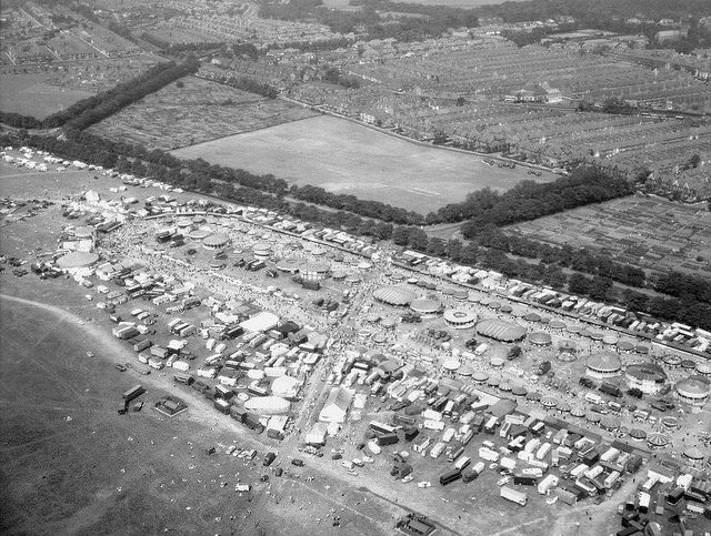 The Hoppings, 1960. An aerial view of the Hoppings travelling funfair on Newcastle's Town Moor. From Tyne & Wear Archives.