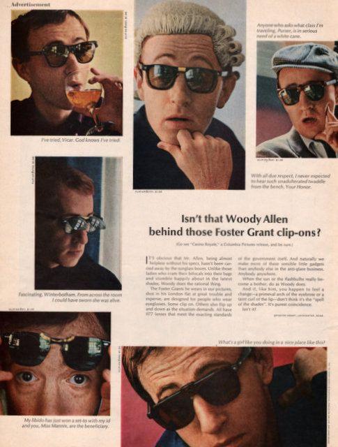 1967 Woody Allen in Foster Grant Sunglasses print ad by Vividiom, $9.00
