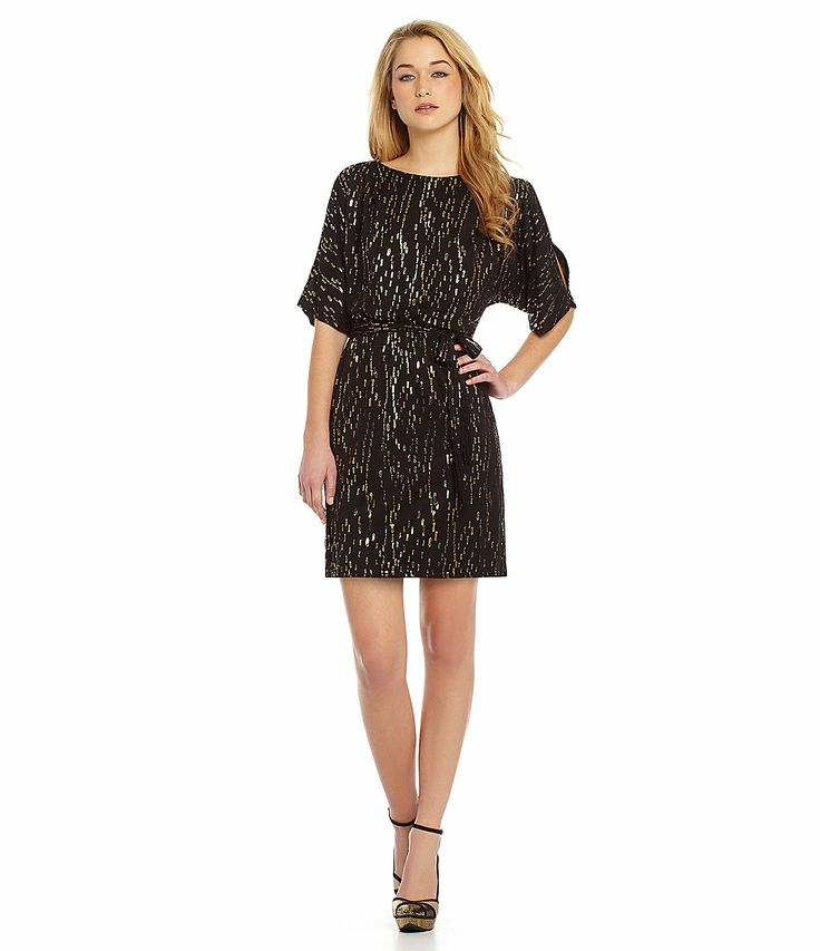Jessica simpson dot print blouson dress for for Dillards plus size wedding guest dresses