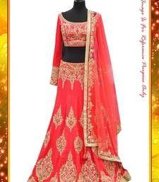 Buy red  embroidered banglori silk bollywood-lehengas bollywood-lehenga online