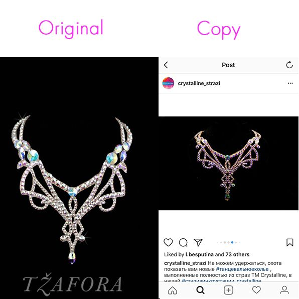 Sigh. This happens. Not just with our ballroom jewelry, but with many dress designs. It's important for consumers to know and trust where their products are coming from. Sometimes they even steal the original photos.