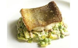 Mark Hix recipe: Ling with creamed peas, leeks and bacon