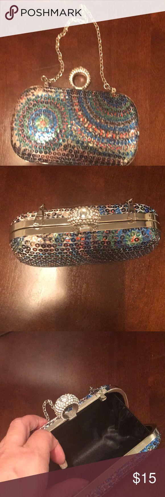New Multi color clutch New multi color clutch—light blue,lime green,royal blue,rhinestone stone ring Bags Clutches & Wristlets