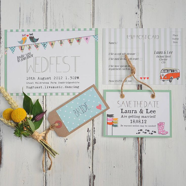 Wedfest is the perfect wedding stationery collection for that relaxed, chilled out, rustic outdoor festival wedding. £1.50