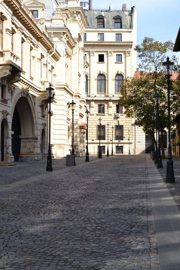 cobblestone street in the Old City Center, Bucharest