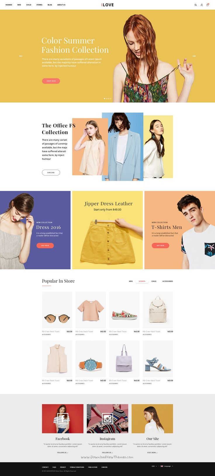 iLove is modern & elegant premium #PSD template for online #fashion store #website with 5 stunning homepage style and 41 organized PSD pages download now➯ https://themeforest.net/item/ilove-creative-online-fashion-psd-template/17085225?ref=Datasata
