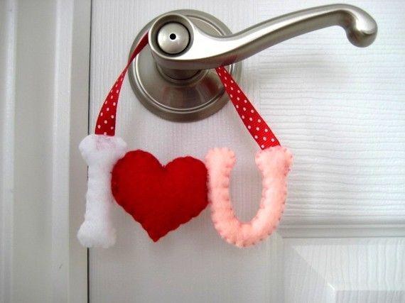 I LOVE YOU - Felt Door Hanger
