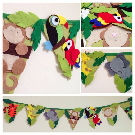 Jungle wall decor bunting by Bettybuntings on Etsy
