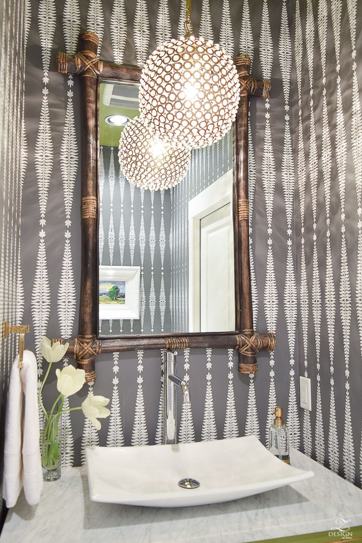 zdesign at home powder room bathroom bamboo mirror schumacher wallpaper white vessel sink brass beaded pendant -2