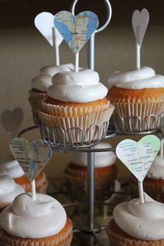 Going Away Party | Cupcake toppers: 1/3 with current city, 1/3 with future city, 1/3 with both