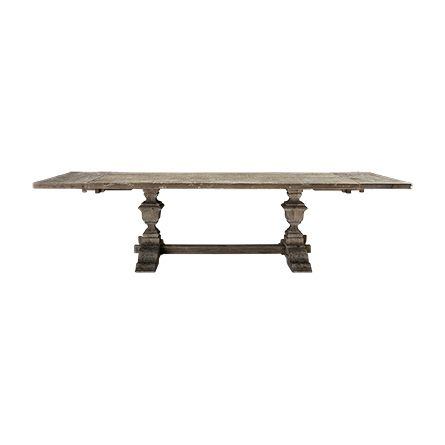 "Working with artisan craftsmen, our versatile Wilhelm 86"" Grey Dining Table with Grey Base complements solid oak tabletops with douglas fir bases"